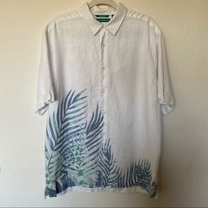 Cubavera Solid Linen Palm Print Shirt